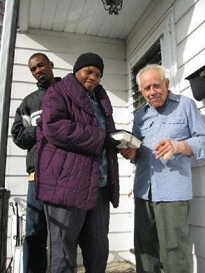 SERV consumers Chris and Geraldine deliver lunch and dinner to Mr. Piccone, a Meals on Wheels client in Ewing.