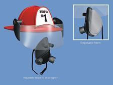 An illustration of Ron Pitak's invention, The Pitak helmet for firefighters and miners, appears in a brochure from Advent Product Development.